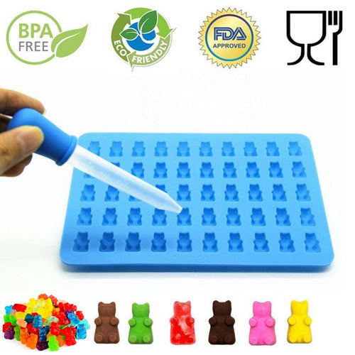 Silicone Gummy Bear & Chocolate Candy Mold Maker with Bonus Dropper ~ Makes 50 Bears - BOUTIQUE CHIC