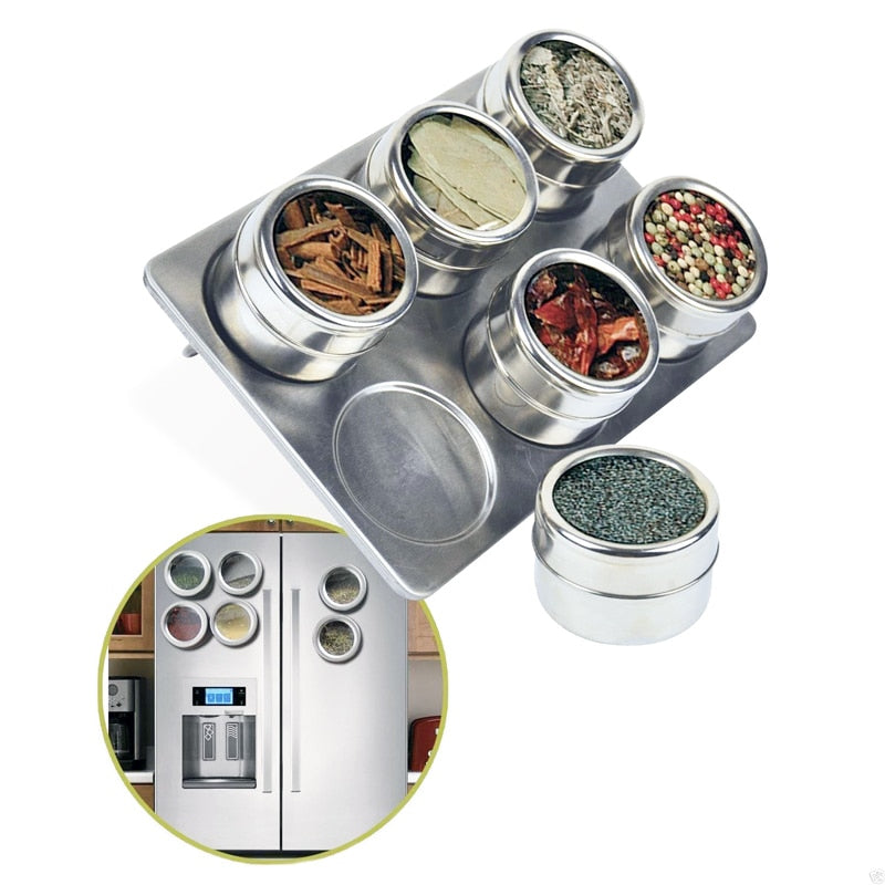 Magnetic Stainless Steel Seasonings & Spice Jar Containers ~ Set of 6 with Holder Rack - BOUTIQUE CHIC