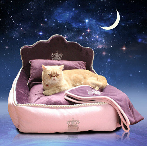 Luxury Princess Pet Bed With Blanket Cushion & Pillow for Cats & Dogs - BOUTIQUE CHIC