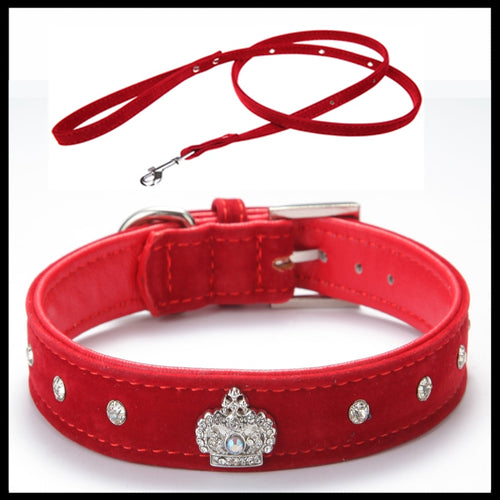 Adjustable Leather & Soft Velvet Pet Collar with Rhinestone Crown Trim & Matching Soft Velvet Leash - BOUTIQUE CHIC