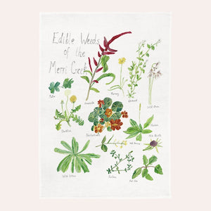 Claire Mosley - Linen Tea Towel - Edible Weeds of Merri