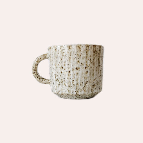 Square Tea Cup - Oat Stripe