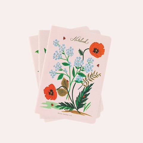 Rifle Paper Co - Pack of 3 Stitched Notebooks - Ruled - Large - Botanical