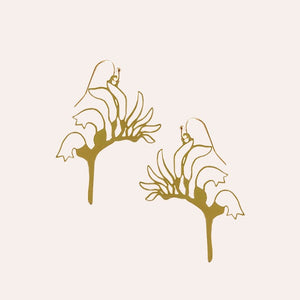 Brass Kangaroo Paw Earrings