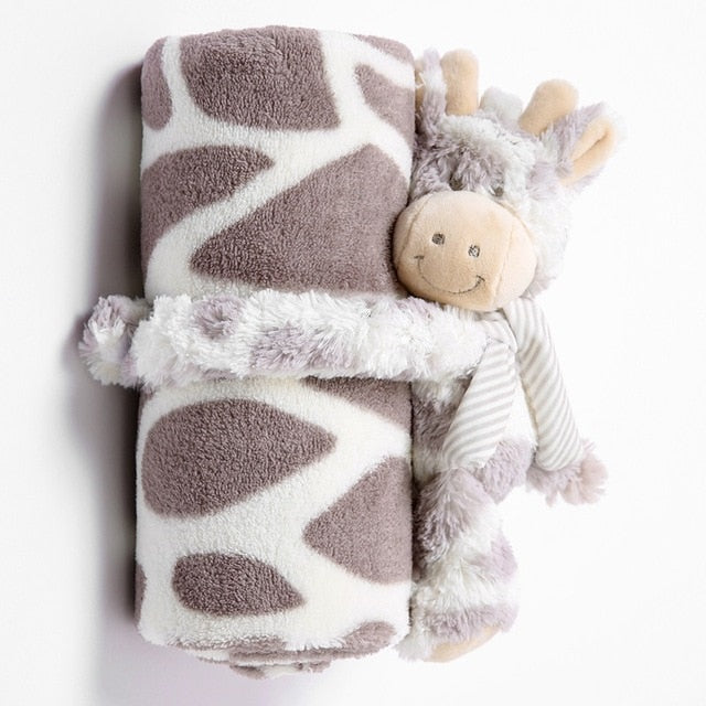 Infant Baby Blankets Newborn with Toys 100% Flannel Warm 2 Layers Solid Color  Swaddle Wrap Baby Bedding Blankets