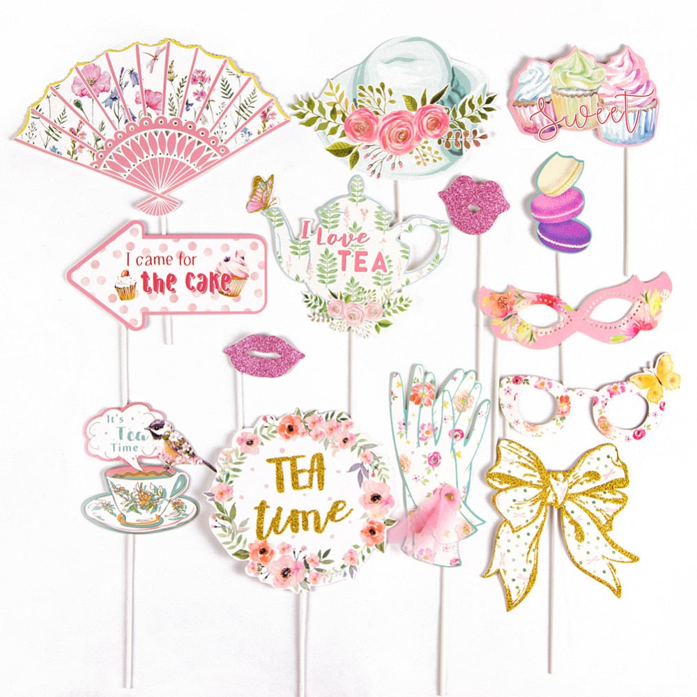 Pack of 14 Tea Party Photo Booth Props on A Stick Wedding Bridal Shower Bachelorette Birthday Garden Kids DIY Party Supplies
