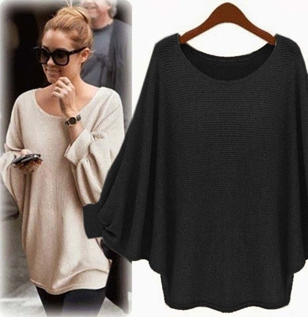 New sweater Women candy color Oversized Batwing Knitted Pullover Loose Sweater Knitted Tops high quality clothing