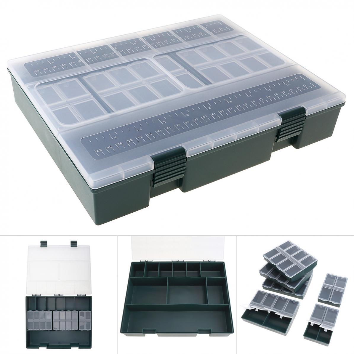 Large Capacity Carp Fishing Tackle Box with Ruler Built- in 6 Separate Small Boxes Ideal for Athletics Leisure Carp Fishing