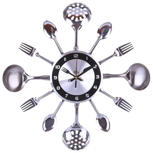 35cm Stainless Steel Kitchen Spoon Fork Clock Silent Wall Clock Living Room Decor Mediterranean Style Home Decoration- Silver