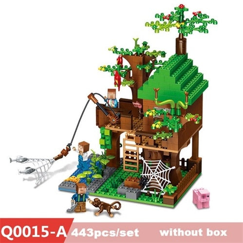 443pcs Mine Craft Building Blocks Compatible city series DIY Tree House Fishing Bricks Island Enlighten Toys For Kids gifts