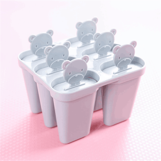Lolly Mould Tray Pan Kitchen 6 Cell Frozen Ice Cube Molds Popsicle Maker DIY Ice Cream Tools Popsicle Molds Children Cooking