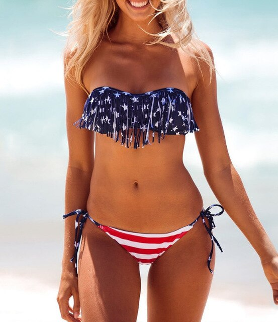 New USA American Flag Print Swimwear Biquinis Women Sexy Bandage Swimsuit Bikinis Set Trikini Beach Bathing Suit Tankini