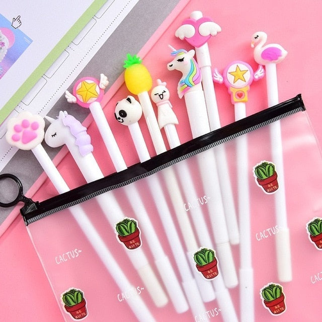 10pcs Cute Gel Pens Set with Kawaii Pencil Case Colorful Writing Gel-ink Pens Cartoon Pen School Stationary Kids Gifts 04272