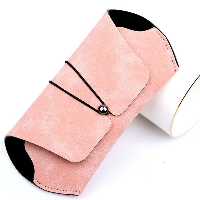 Sunglasses Case Portable Storage Box Female Simple Retro Fashion White Pink Box Frosted Leather Glasses Bag Eyeglass Packaging
