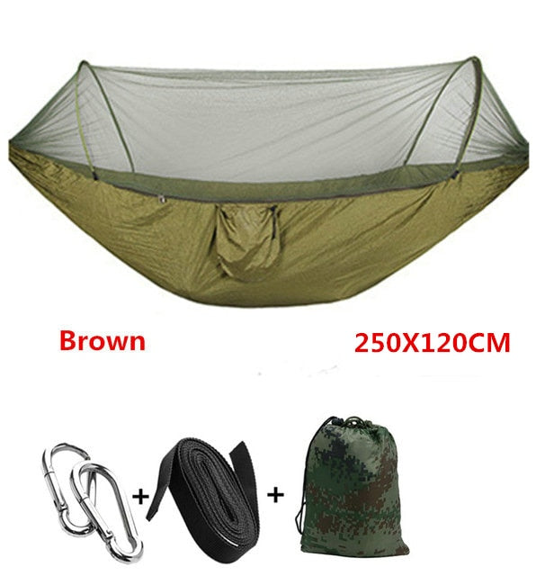 Automatic unfolding hammock ultralight parachute hammock hunting mosquito net double lifting outdoor furniture hammock 250X120CM