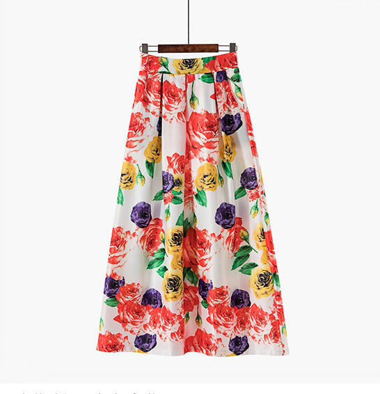 Floral Long Skirts for Women 2019 Jupe Vintage Retro High Waist Summer Skirts Womens Swing Floor-Length Plus size Maxi Skirt
