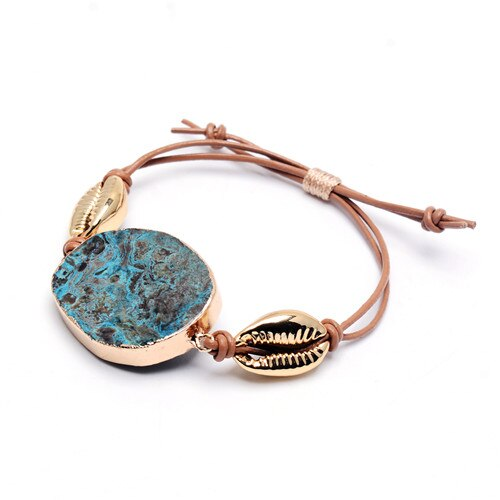 Fashion Big Blue Stone Gold Shell Charms Bracelet for Women Brown Braid Rope Handmade Summer Beach Jewelry Partry