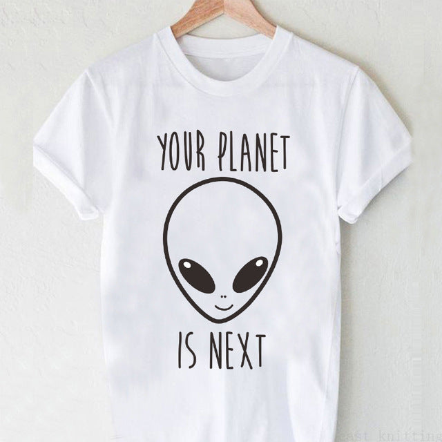Dreamlikelin Summer Fashion Alien QUEEN Print Short Sleeve T Shirt Women Harajuku O-Neck Cartoon T-shirts Funny Tops Tee Shirts
