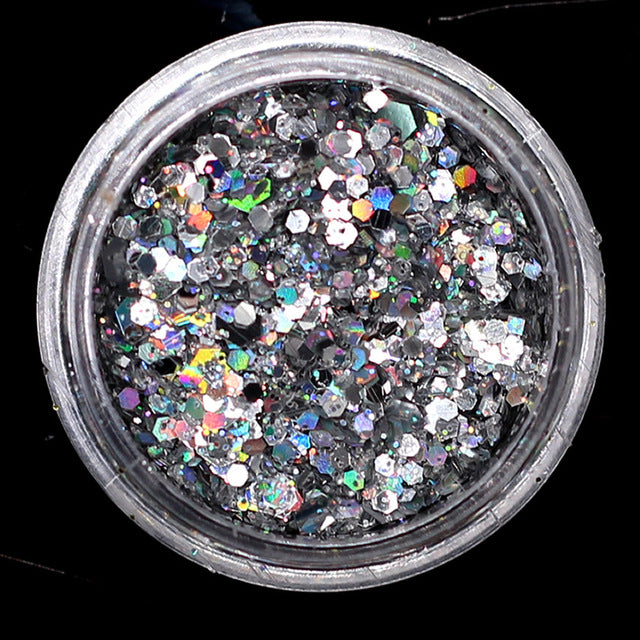 1pcs AB Nail Sequins Flakes Star Moon Heart Nail Gel Round Nail Glitter Holographic Pigment Nail Art Decoration m1a505