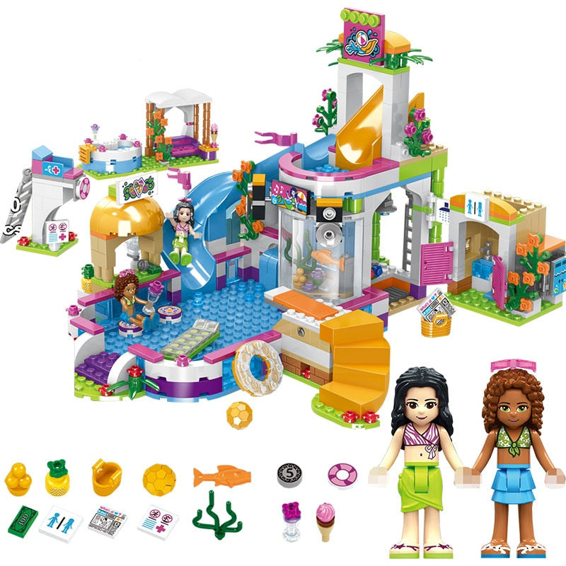 768pcs Girls Building Blocks Swimming Pool Stacking Blocks Compatible Friends Bricks Figures Kids DIY Toys for Girls