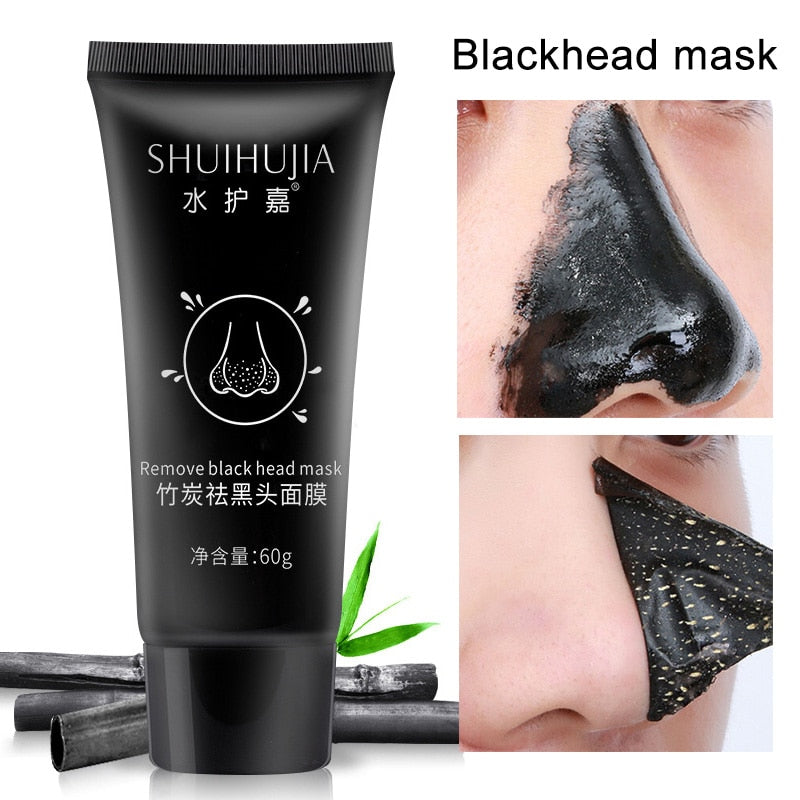 Bamboo Charcoal Black Mud Mask Blackhead Remover Acne Cream Facial Treatment Deep Cleansing Mud