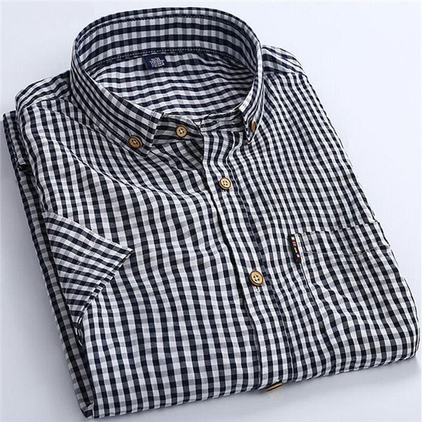 High Quality Men Shirt 2017 Brand Business Casual Short Sleeve Plaid Men's Dress Shirt Social Cotton Clothes Slim Fit X100