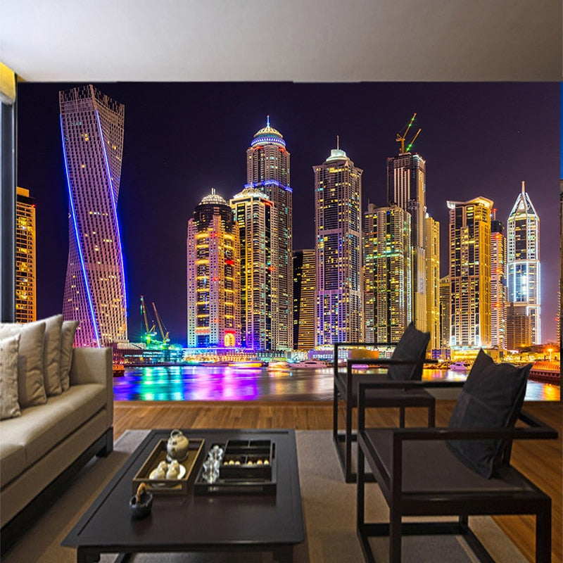 Custom 3D Photo Wallpaper Dubai Night View City Building Wall Mural Wall Papers Home Decor Living Room Background Wall Painting