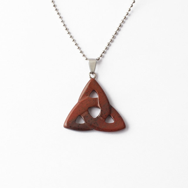 Natural Gemstone Necklace Pendant 34mm Triangle Pendant Turquoise Jasper Agate Stone Charms Jewelry