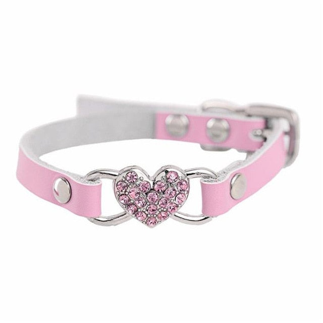 Transer Pet Dog Supplies Dropshipping Love Heart Diamonds Rhinestone Pet Collar PU Leather Dog Collars For Small Dog Cat 80124