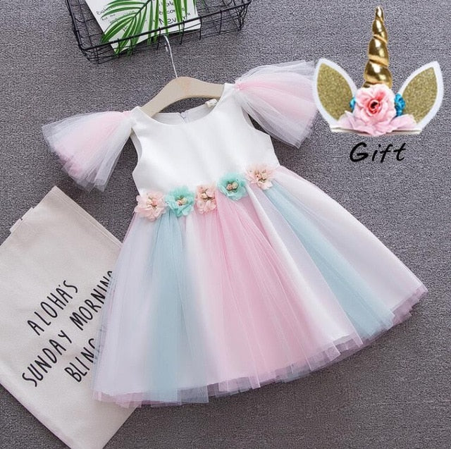 toddler girls Unicorn dress baby girl rainbow colors tulle dress with unicorn headband lovely kids sundress for unicorn party