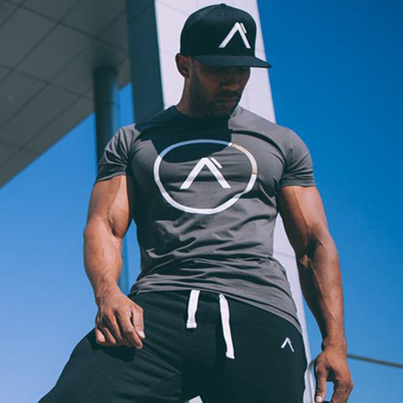 Men Running Sport Cotton t shirt Gym Fitness Workout Training Short sleeve T-shirts Male Jogging Bodybuilding Tee Tops Clothing