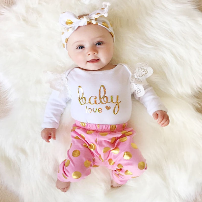2PCS Baby Girls Lace Long Sleeve Top Bodysuit+Pants Baby Love Golden Dot Lovely Infant Clothes Toddler Infant Clothing Sets