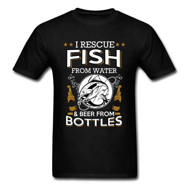 Fish Beer Bottles Man T-shirts Summer Brand Black Men's Tops & Tees Pure Cotton Short Sleeve Sweater Camisetas Graphic T Shirt