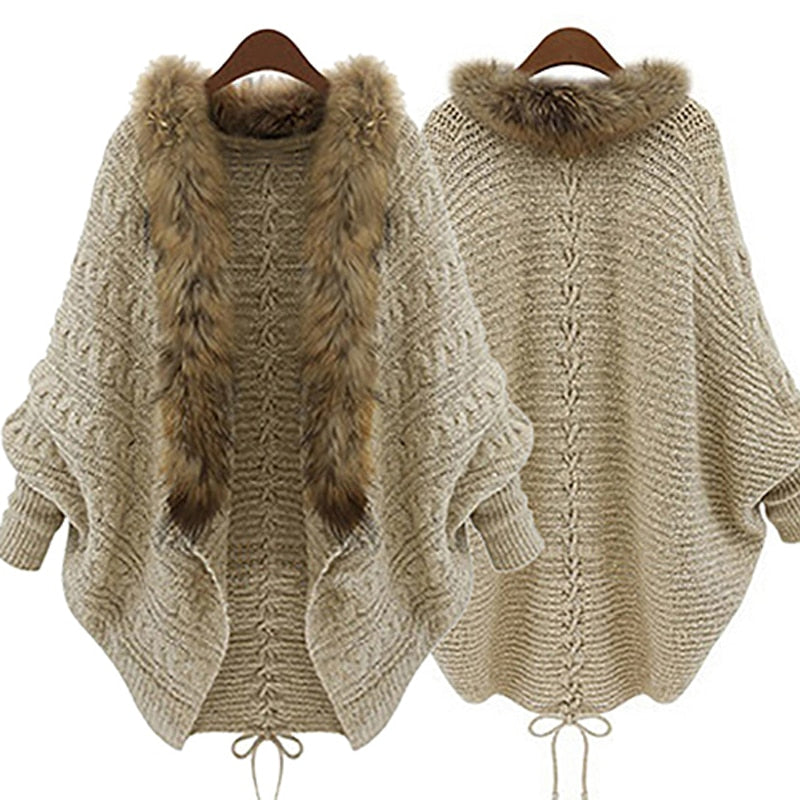 New Women Faux Fur Collar Batwing Sleeve Loose Casual Warm Cardigan Shawl Sweater