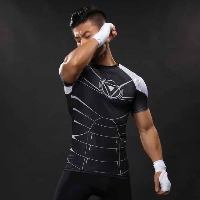 Adhemar breathable superhero rashguard polyester gym shirt Autumn rashguard men spandex short sleeve running t-shirt