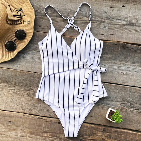 Stripe V-Neck Bathing Suit