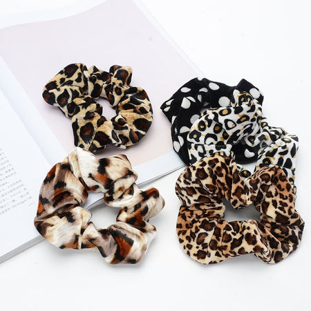 Leopard Velvet Scrunchies For Lady Women Winter Elastic Rubber Band Soft Hair Tie Hair Accessories Gum For Hair Hair Scrunchies
