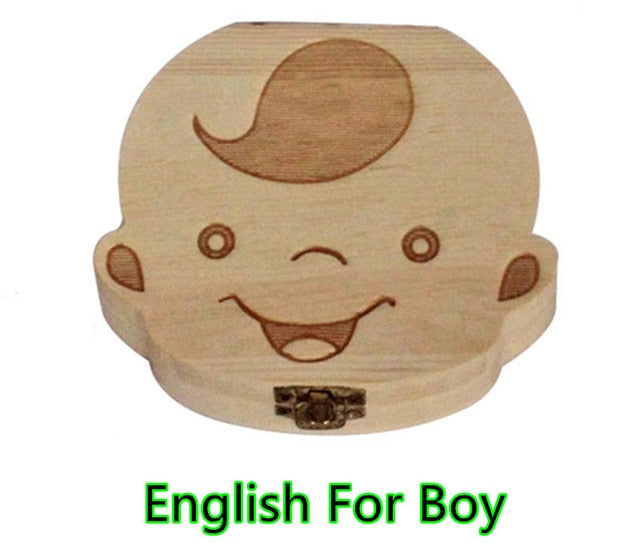 Baby Milk Teeth Box Spanish English Russion Baby Wood Tooth Box Baby Tooth Organizer Kids Deciduous Storage Collect wooden Box