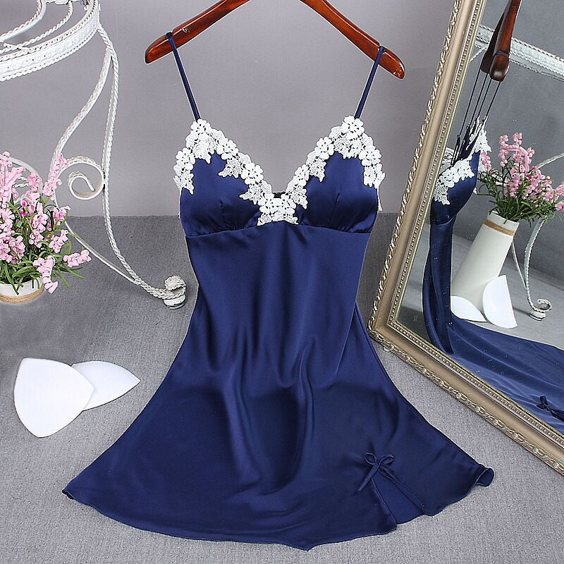 Lady Sexy Nightgown Summer Women's Lingerie Robe Bath Gown Faux Silk Sleepwear Nightdress Pajamas Homewear Chest Pad Nightwear