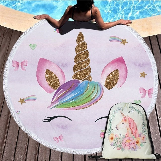 Cartoon Unicorn Series Microfiber Beach Towel with Drawstring Backpack Bag Sport Yoga Blanket Swimming Bath Towel