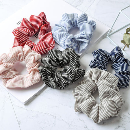 1pc Elasticity Scrunchies New Hot Ponytail Holder Hairband Hair Rope Tie Fashion Stripe Floral Hair Rings for Women Girls