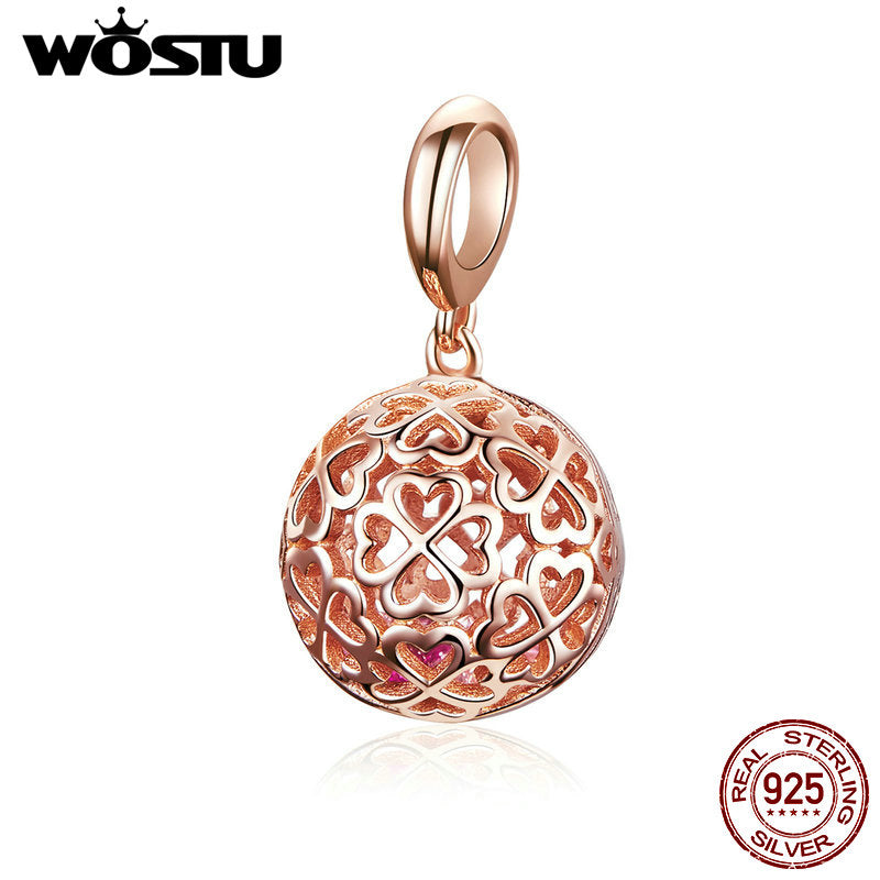 WOSTU 925 Sterling Silver Hollow Rose Gold Charms Round Bead Fit Original Bracelet Pendant For Women Silver 925 Jewelry CQC1127