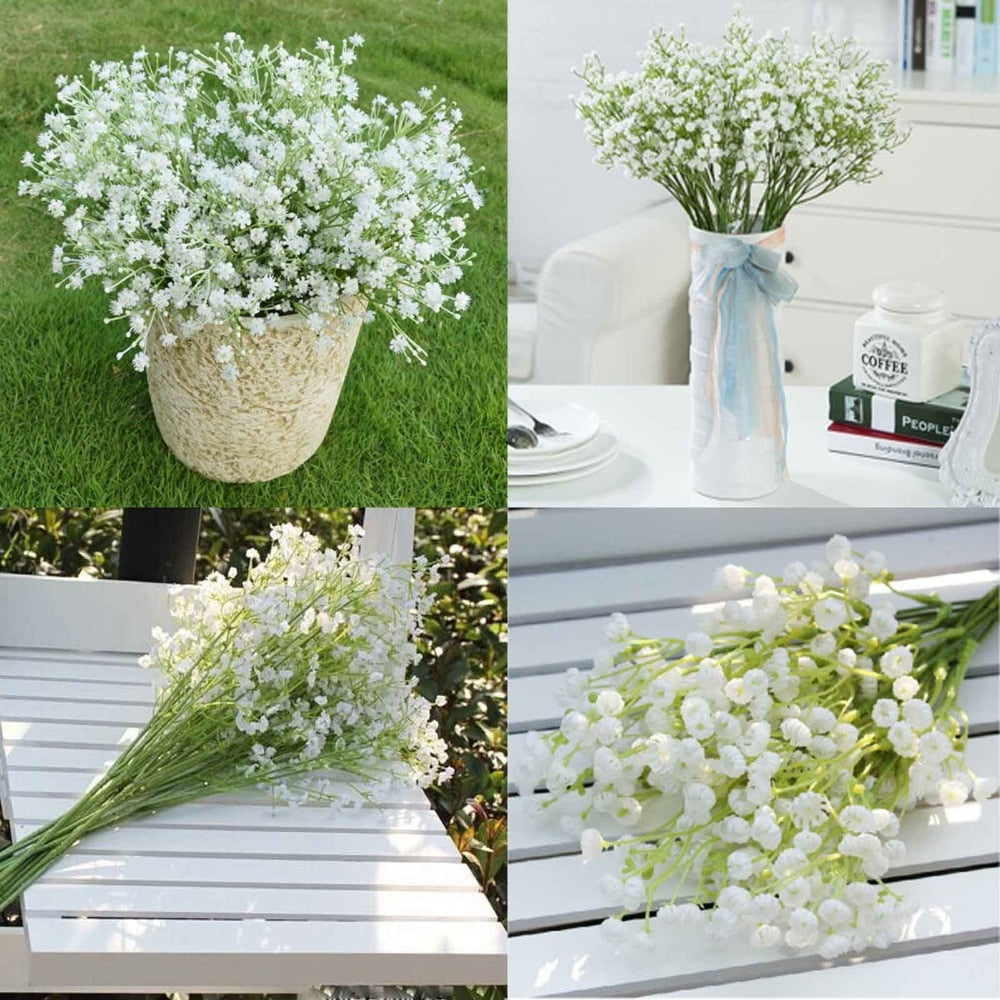 GXINUG 12Pcs  Artificial Fake Silk Gypsophila Baby's Breath Flower  Silk Flowers Wedding Home Party New Year Bouquet Decoration
