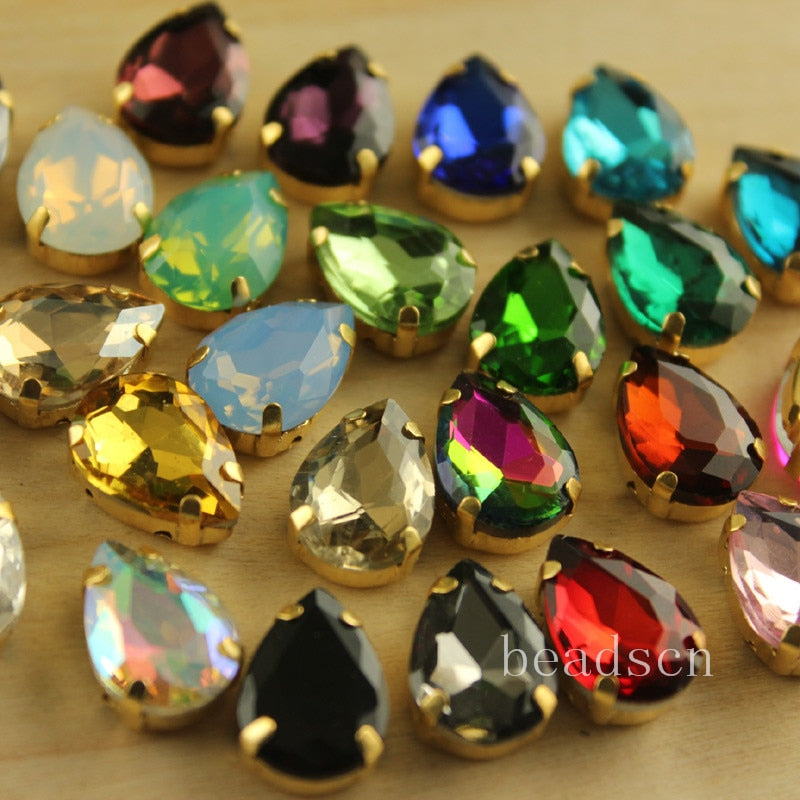 12pcs  10x14mm  teardrop shiny Crystals Sew On  stones with Gold copper claw  rhinestones  colors link1 diy  for dress/bags