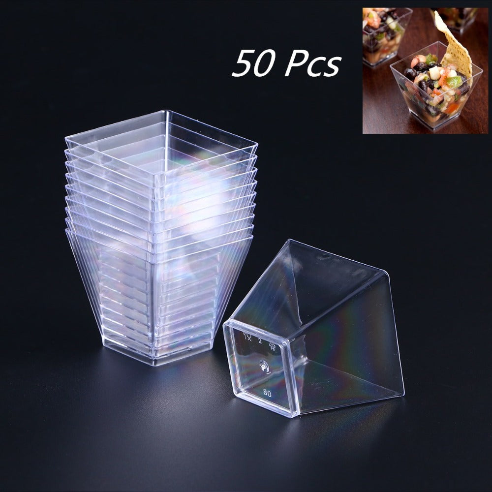 50pcs/lot 60ml Disposable Food Grade Plastic Portion Containers Portion Cups for Dessert Pudding Mousses Yogurt Jelly