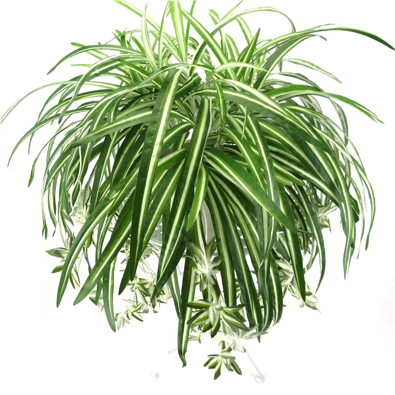 65cm 5 Heads Artificial Plants Wall Hanging Chlorophytum Green Plants PVC Fake Flower Simulation Leaves Home Garden Decor