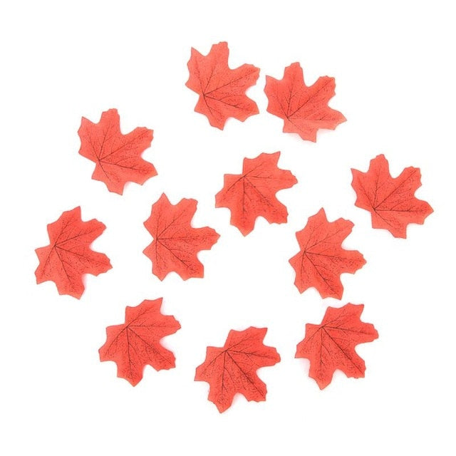 50pcs/lot Artificial Silk Maple Leaves Fake Fall Leaf Artificial Maple Leaves Simulation Decorative for Wedding Party Home Decor