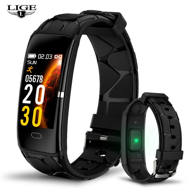 2019 New LIGE Women Smart bracelet IP68 Waterproof Heart Rate Monitor Fitness Bracelet Smartwatch Men Smart Band For Android IOS