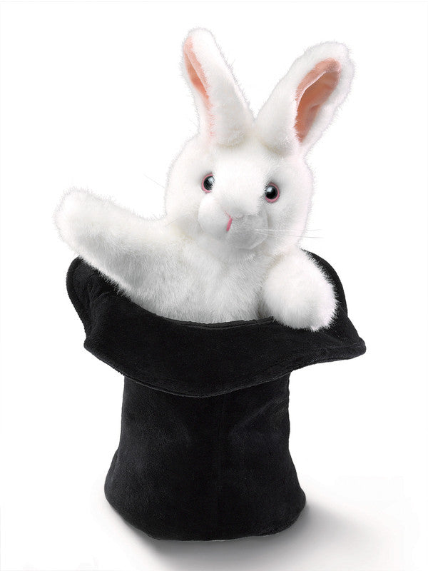 Folkmanis - White Rabbit in Hat Puppet