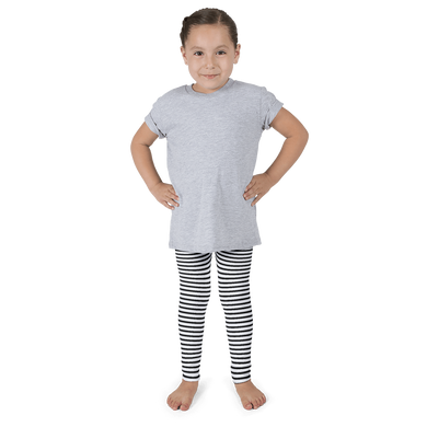 Little Girl's Black and White Striped Leggings